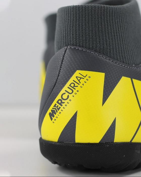 18e7c1f7fc ... Scarpe calcetto Nike Mercurial SuperflyX 6 Club Turf con calzino Uomo  Grigio giallo Originale - Football ...