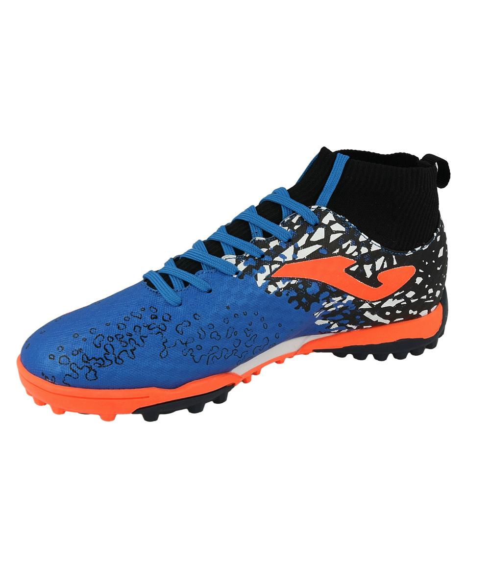 Football-shoes-Joma-Scarpe-da-calcio-Champion-Blu-Calcetto-Turf-801-con-calzin
