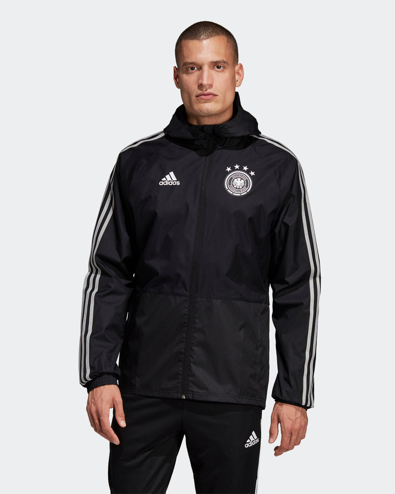 Constructif Germania Germany Adidas Giacca Vento Pioggia 2019 All Weather Nero Limpide à Vue