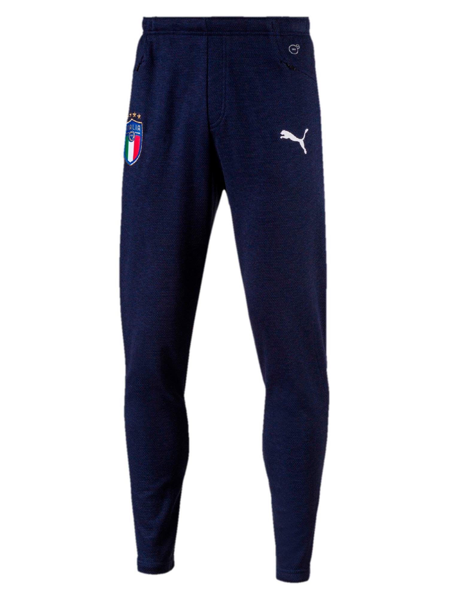 Italia-FIGC-Puma-Pantalones-traje-Algodon-Casual-Performance-Sweat-2018-Blau