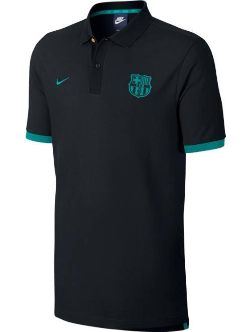 Core barcelona nike polo shirt black 2016 17 cotton ebay for Black cotton polo shirt
