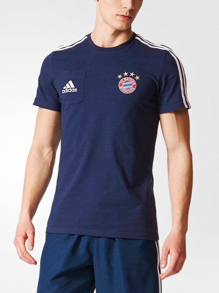 Bayern Monaco Adidas Maglia Allenamento Training Shirt Tee Blu 2017 18 Cotone