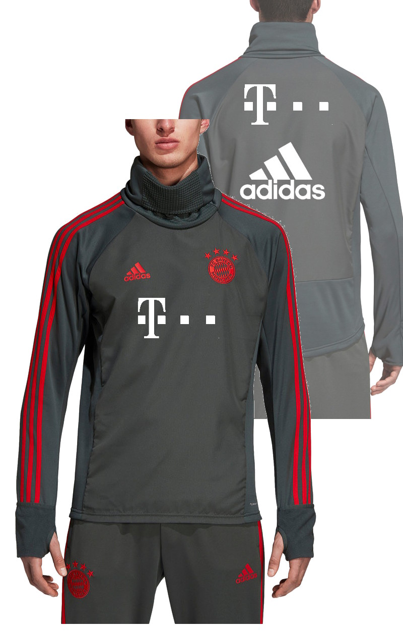 Bayern Munchen Adidas T-Mobile sponsor Training Sweatshirt Warm Top grau
