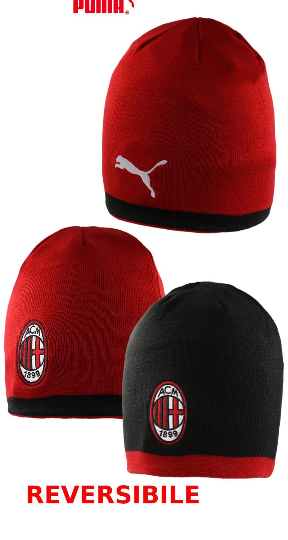 Ac Milan Puma Winter wool hat tg Unisex Red-black 2018 19 Reversible ... 5ff7c29f0ac9