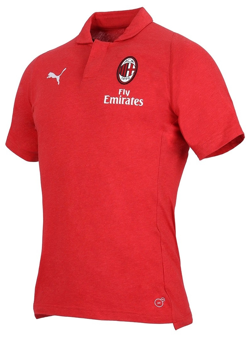 Ac Milan Puma Polo Shirt CASUAL Performance Red 2018 19 Cotton