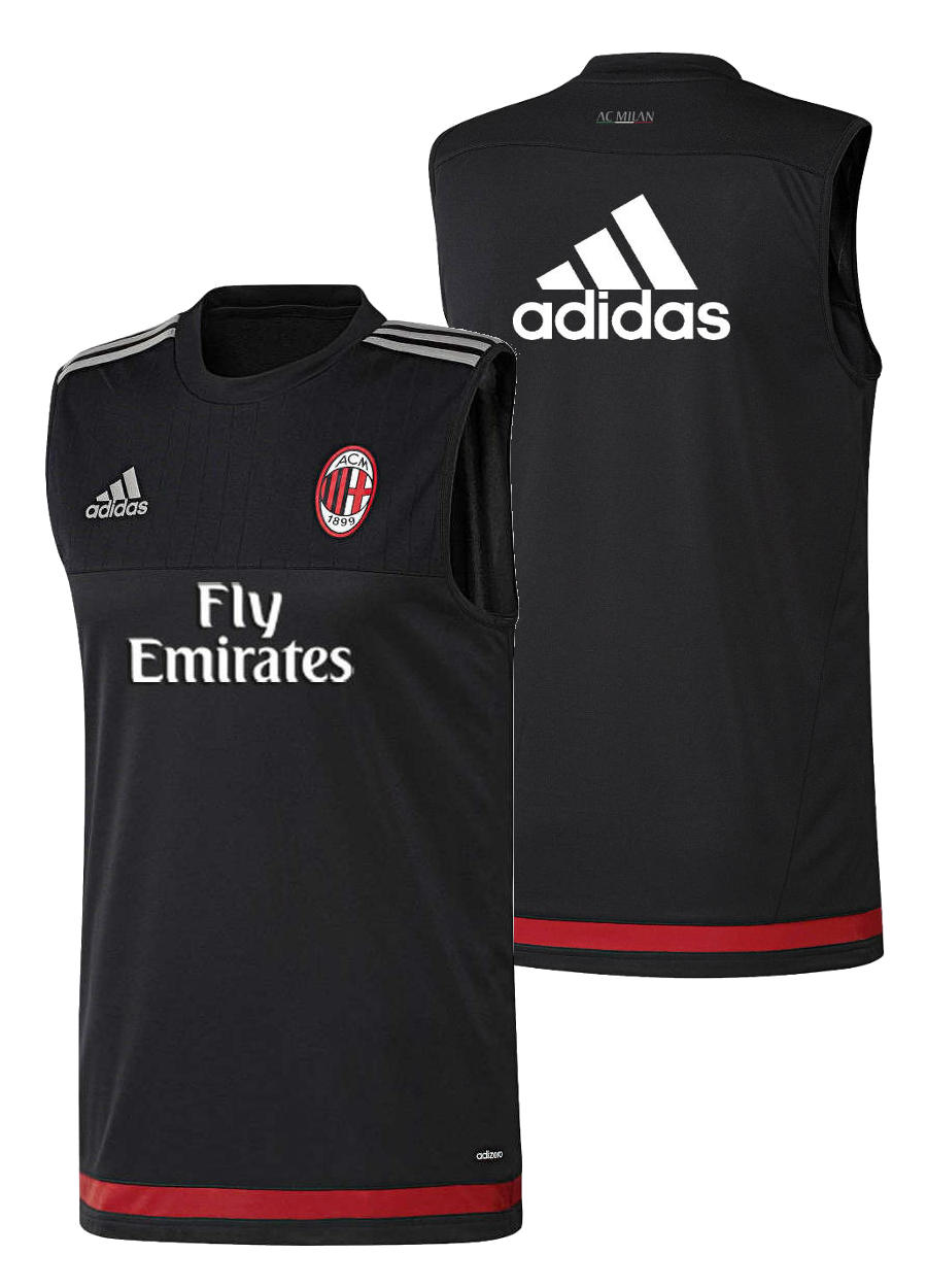 sponsor fly emirates ac milan adidas training shirt black