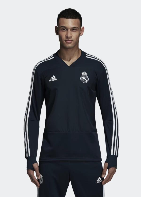 Real Madrid Adidas Training Top Sweatshirt Navy 2018 19
