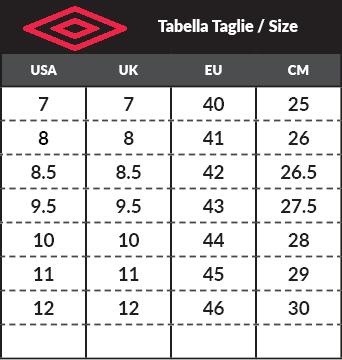 2bfcfd66780e Tabella taglie e misure Scarpe Sportive Sneakers Umbro ELY NBK Blu uomo